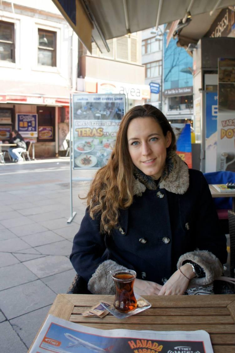 Claire Imaginarium drinking Turkish tea