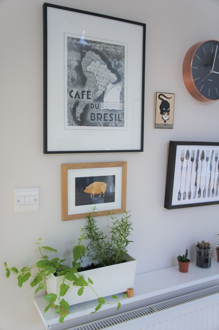 Cafe du Bresil vintage print Kitchen gallery wall