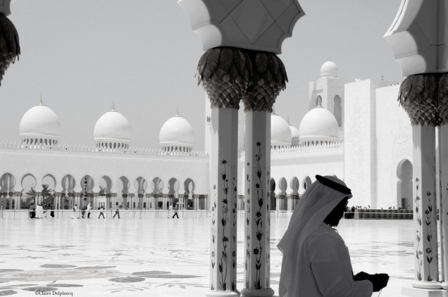 UAE-Abu-Dhabi-Great-Mosque-B&W