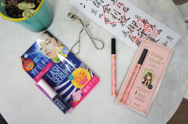 Japanese eyeliner, lash serum and lash curler