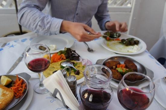 Greek food aubergine dip fava tomatokeftedes