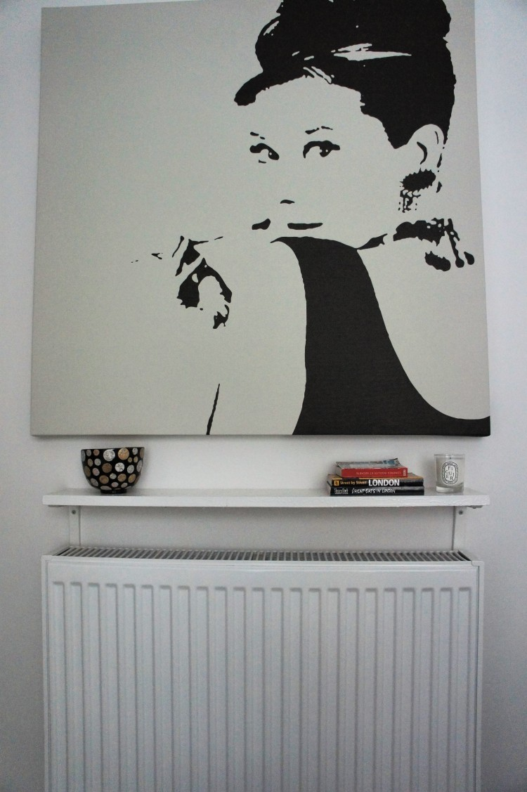 Audrey Hepburn Ikea print and DIY shelf Guest Bedroom interior design