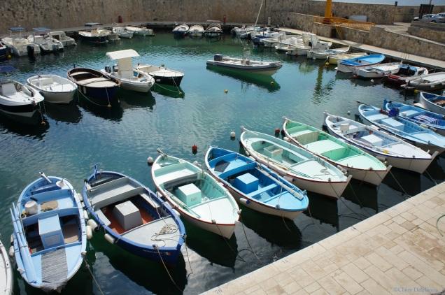 Italy Puglia Tricase Porto rowing boats