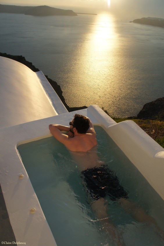 Santorini Grace Hotel plunge pool sunset
