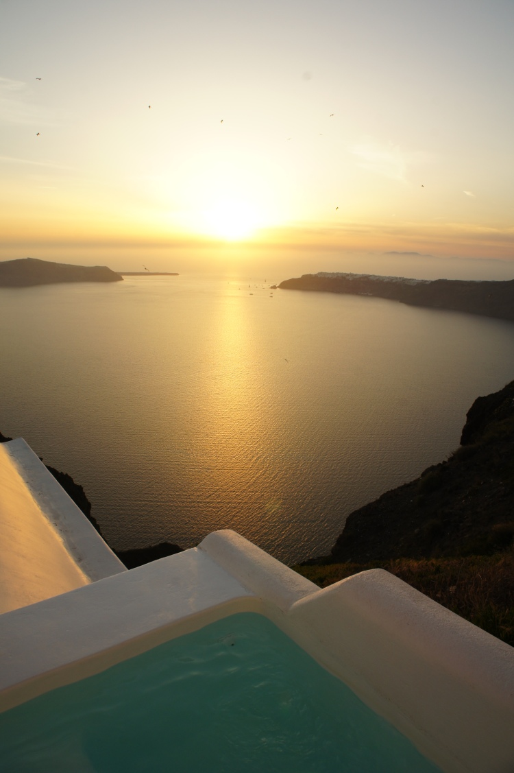 Sunset and plunge pool at Grace Hotel Santorini