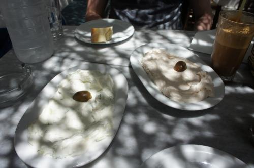 Tsatsiki and tarama Kiki's Tavern Mykonos