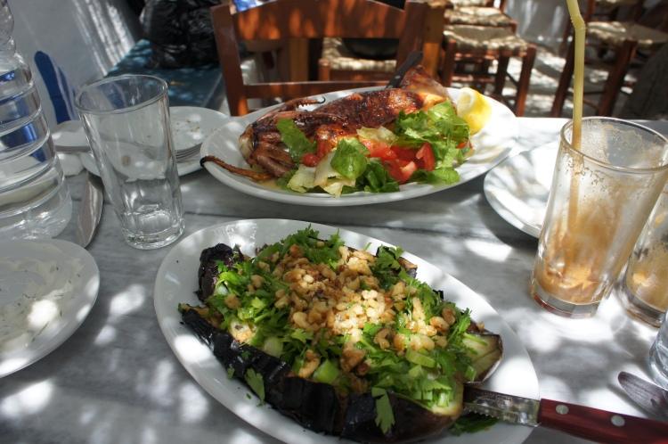 Aubergine and calamari Kiki's Tavern Mykonos