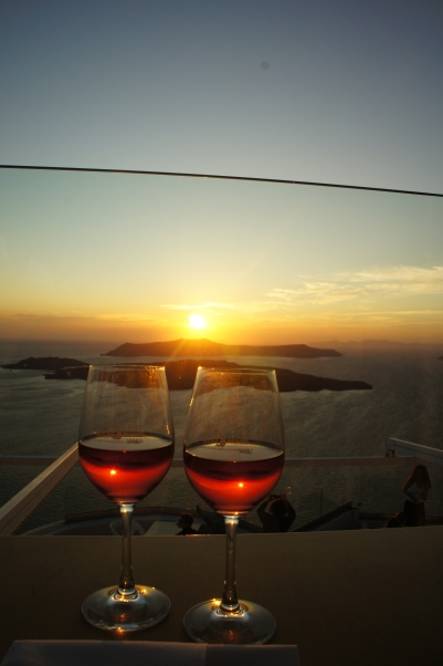 Santorini Santo Wines sunset