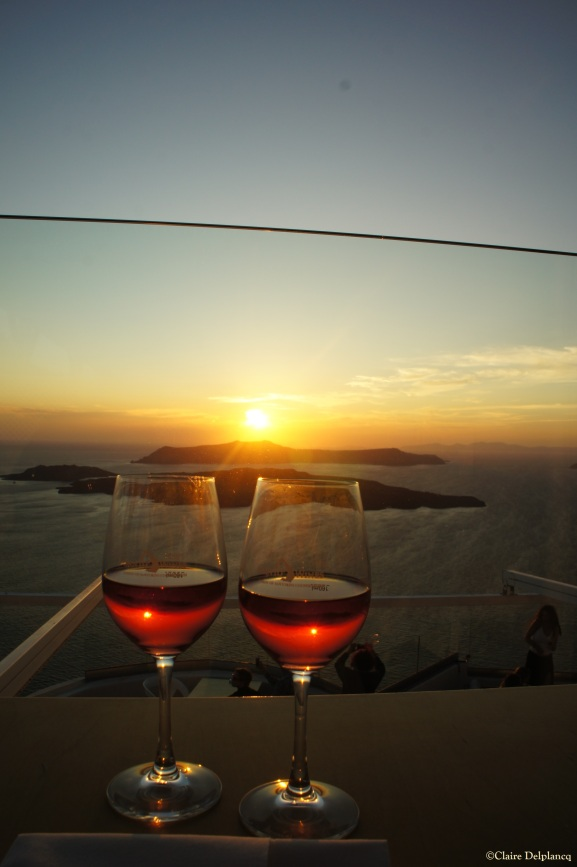 Santo Wines sunset Santorini