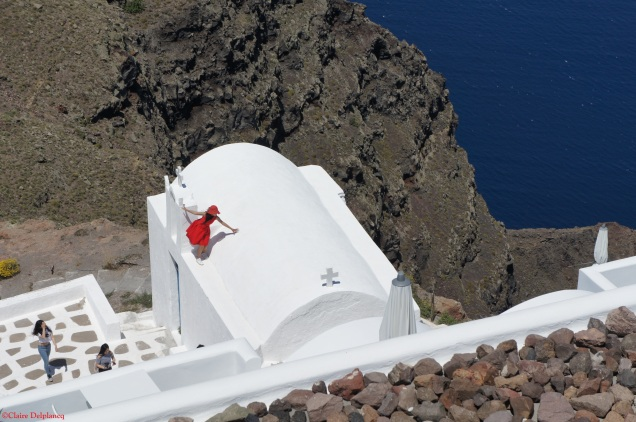 Red dress Santorini