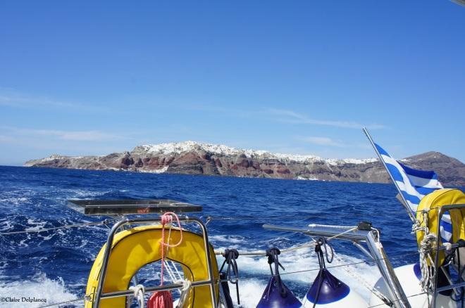 Sailing on the Santorini Caldera