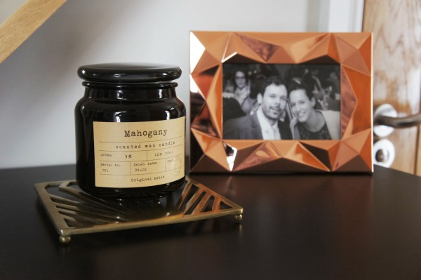 Mahogany candle and metal trivet H&M copper picture frame Paperchase