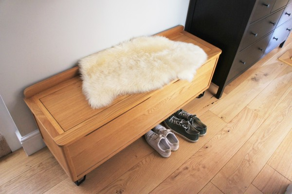 Heal's Brunel blanket box Ikea sheepskin