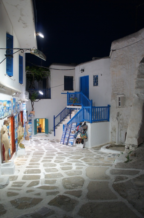 Mykonos street by night