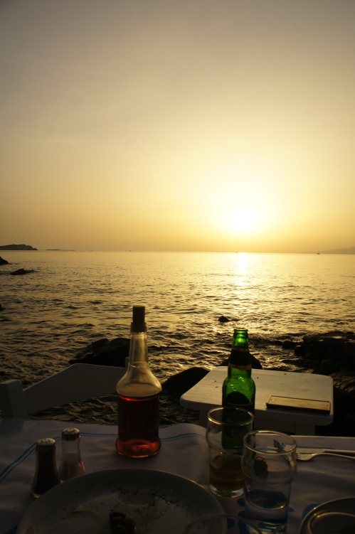 Sea Satin Market restaurant sunset Mykonos