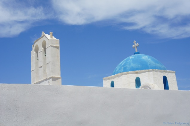 Church blue roof Naousa Paros