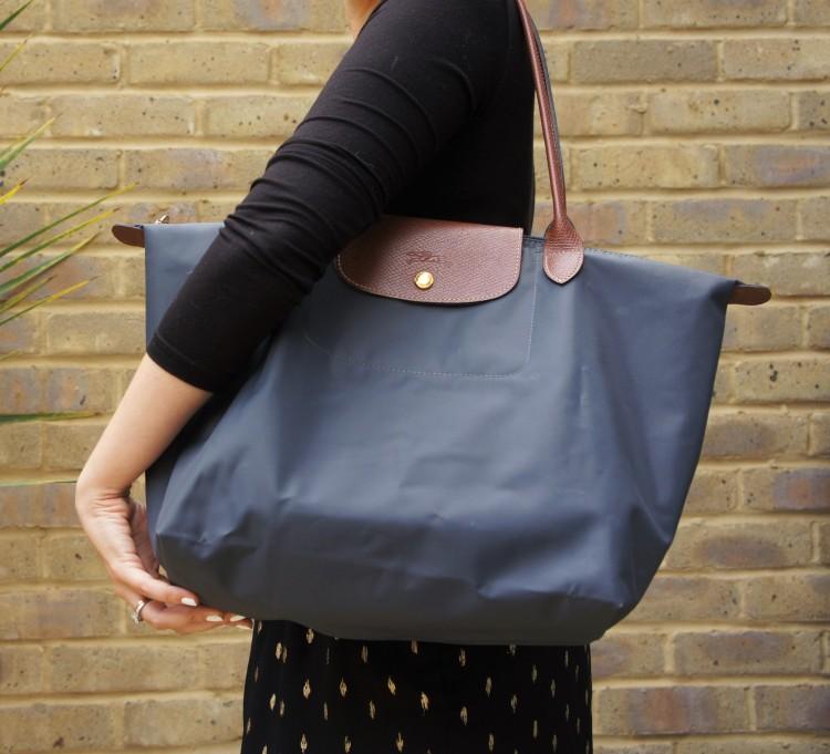 Longchamp pliage bag in grey