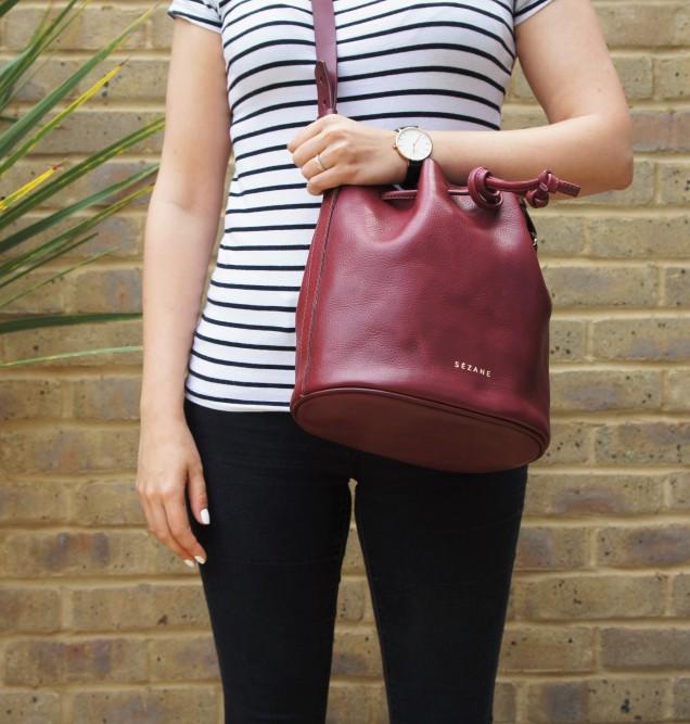 Sezane Farrow bag in burgundy