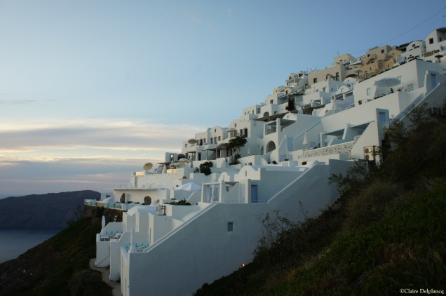 Imerovigli at sunset in Santorini