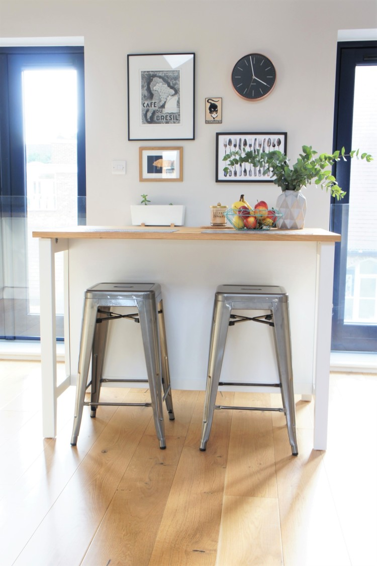 Kitchen island and metal stools