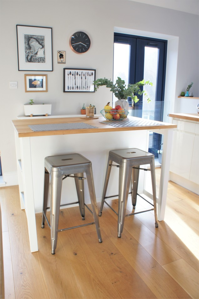 Ikea kitchen island and industrial stools
