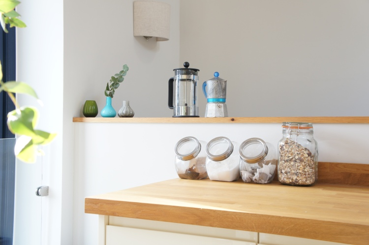 Kitchen jars, Bialetti coffee maker and Bodum French press