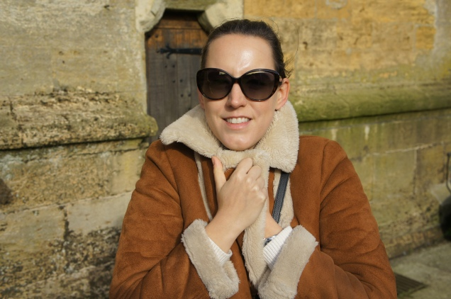 Topshop shearling coat and Marc Jacobs sunglasses