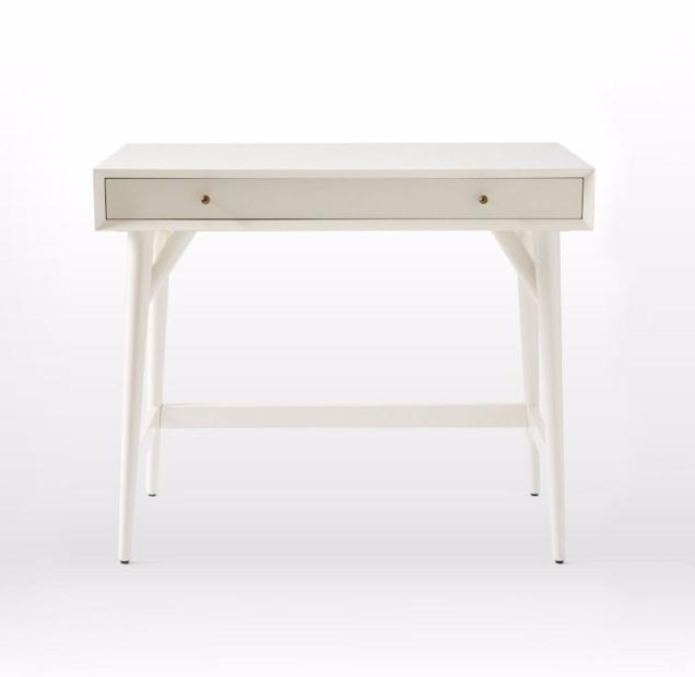 West Elm mid-century white desk
