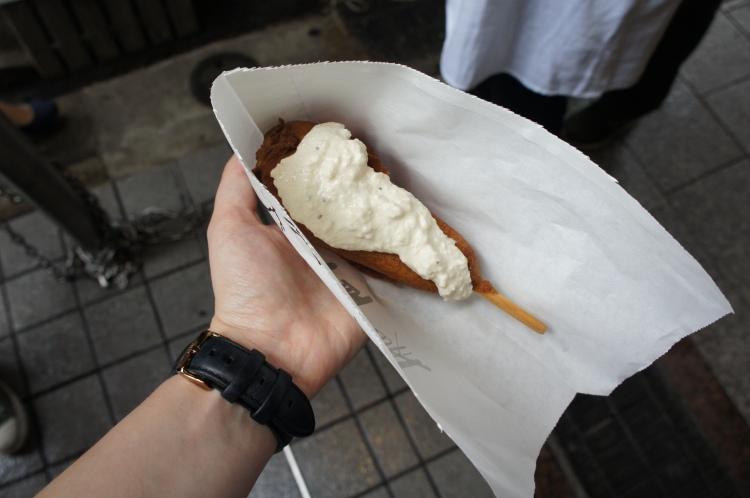 Corn dog Nishiki Market Kyoto