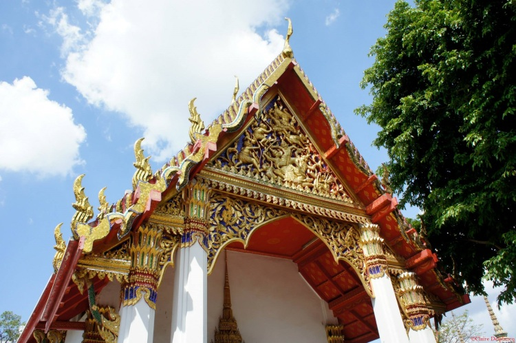 Red and gold roof temple Thailand