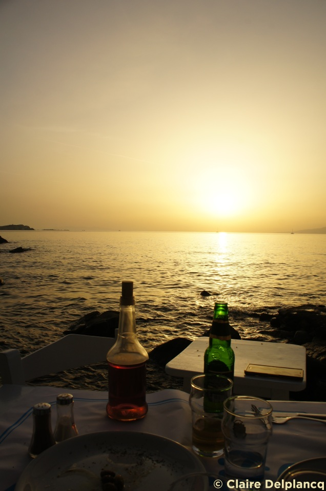 Drinks and sunset in Mykonos