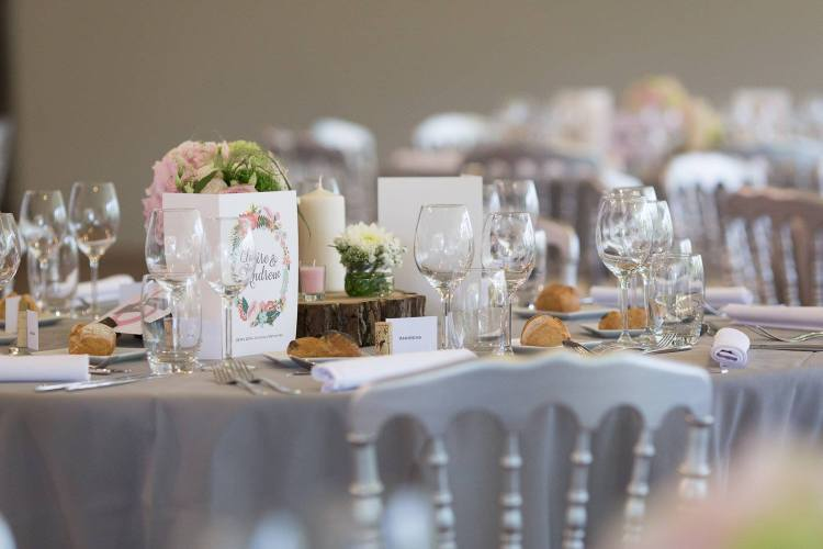 Grey and pink wedding table decorations