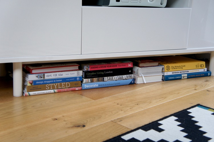 Books under furniture