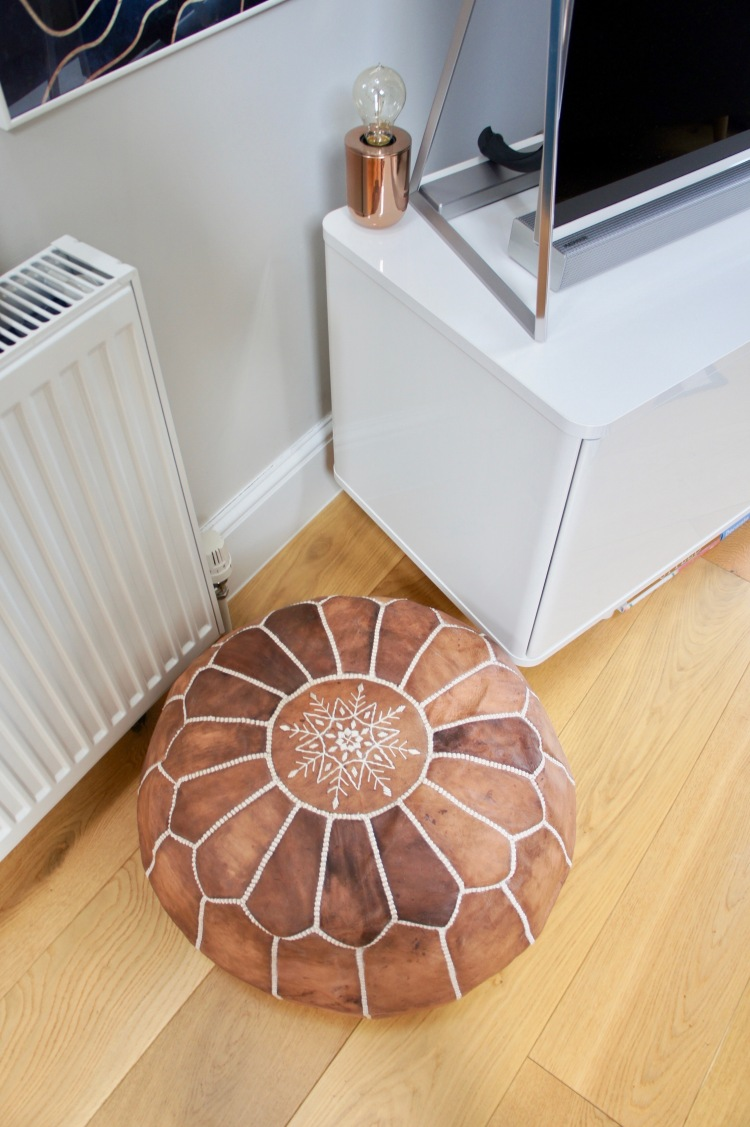 Tan leather Moroccan pouffe