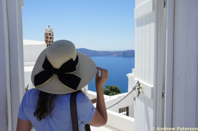 Straw hat in Santorini