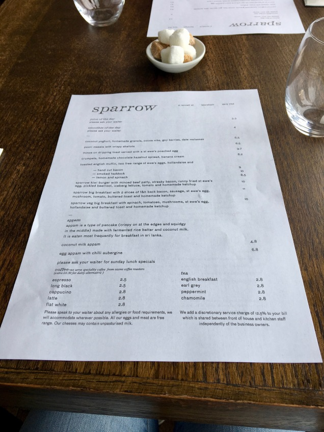 Sparrow brunch menu