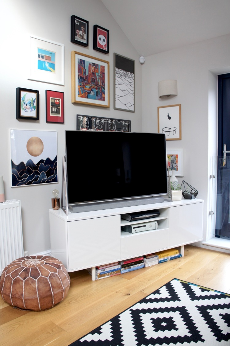 Gallery wall and Panasonic TV