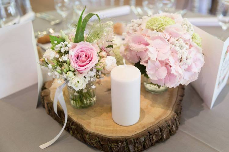Wedding pink and grey centre piece