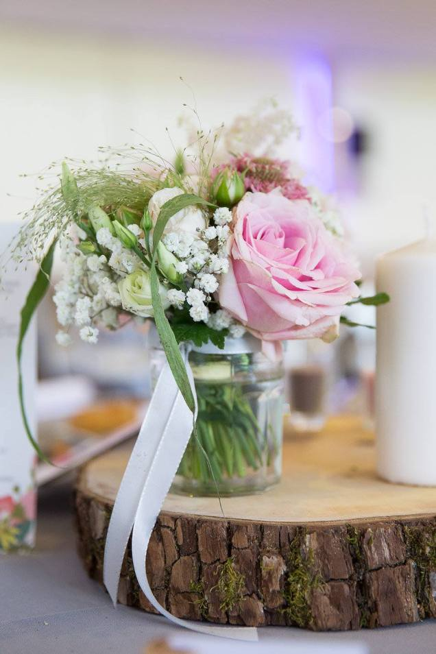 Wedding pink and grey table flowers