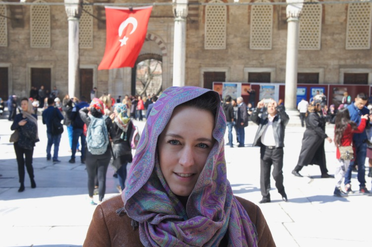 Wearing a head scarf in the Blue Mosque in Istanbul