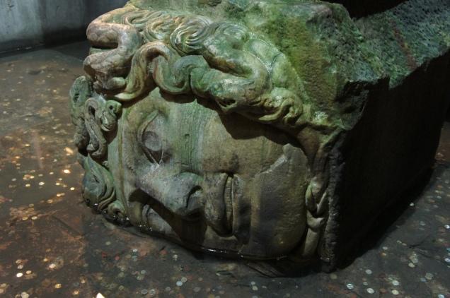 Medusa column in the Basilica Cistern in Istanbul