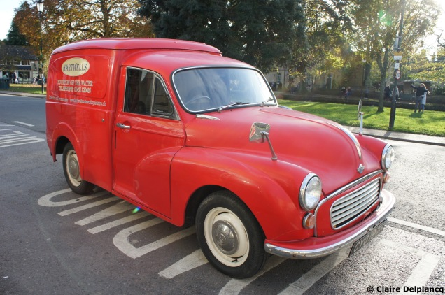 Vintage red van in the Cotswolds