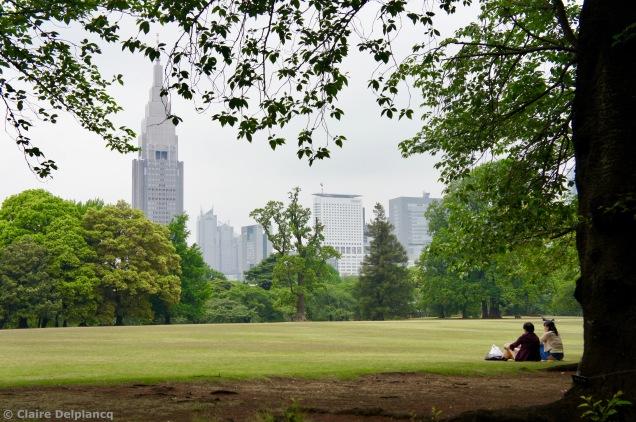 A couple in Shinjuku Gyoen National Garden