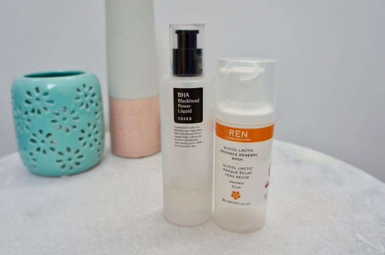REN Glycol Lactic Radiance Renewal Mask and CosRx BHA Blackhead Power Liquid