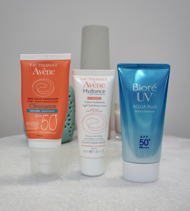 Avene and Biore sunscreens