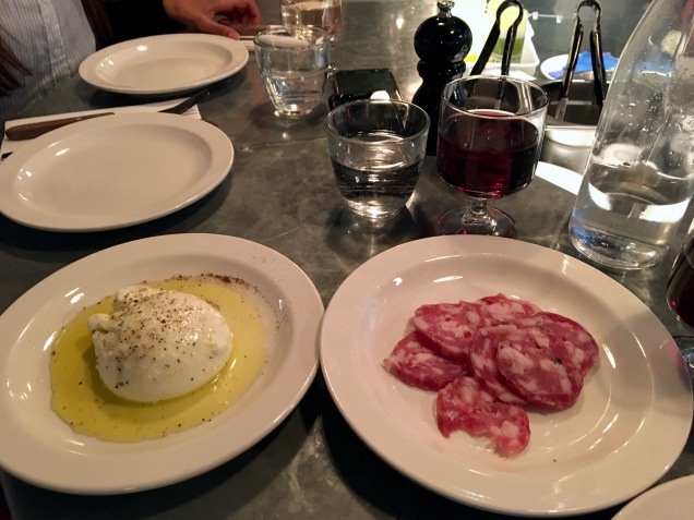 Burrata and salame Padella London