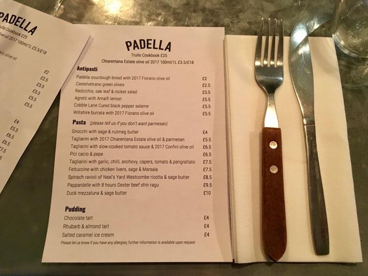Padella London menu