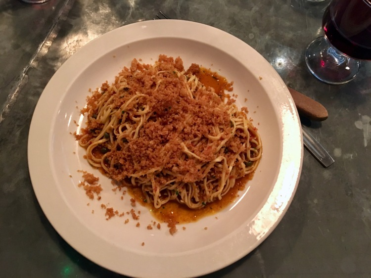 Tagliarini with chilli, anchovies and capers Padella London