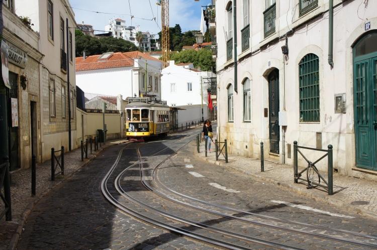 Tramway in Alfama Lisbon