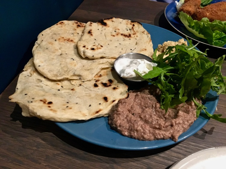 Brieckfields London flat bread with aubergine and chickpea dips